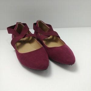 Charles Albert Ankle Strap Ballet Flats Point Tip